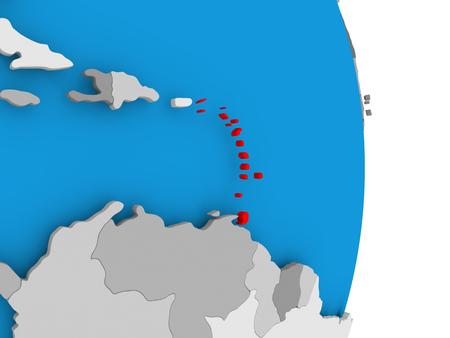 Caribbean in red on model of political globe. 3D illustration.