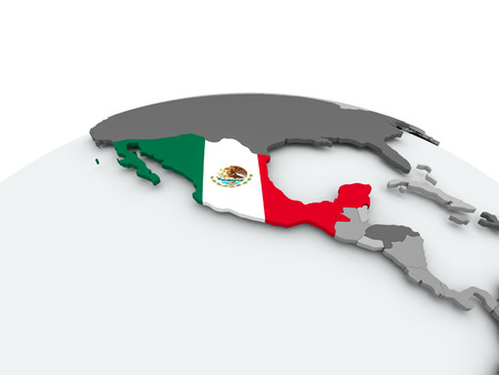 embedded: Mexico on grey political globe with embedded flag. 3D illustration.