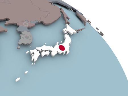 embedded: Illustration of Japan on political globe with embedded flags. 3D illustration.