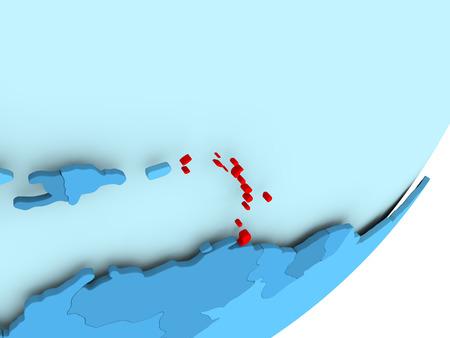 Caribbean in red on blue political globe. 3D illustration.