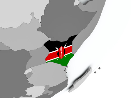 Kenya on political globe with flag. 3D illustration. Stock Photo