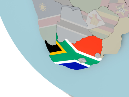 Map of South Africa on political globe with embedded flags. 3D illustration.