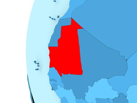 3D render of Mauritania in red on blue political globe. 3D illustration.