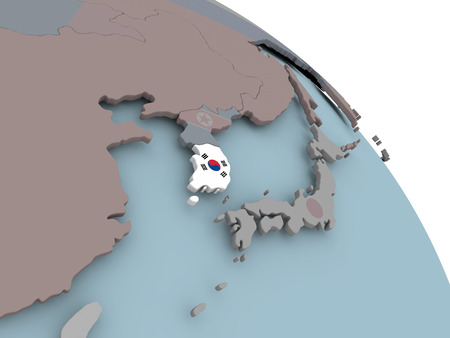 Illustration of South Korea on political globe with embedded flags. 3D illustration.