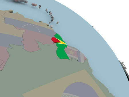 Illustration of Guyana on political globe with embedded flags. 3D illustration.