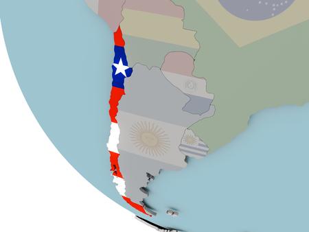 Mapa de Chile en el mundo político con banderas incrustadas. Ilustración 3D.