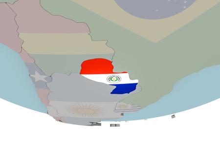 3D illustration of Paraguay with embedded flag on political globe. 3D render. Stock Photo