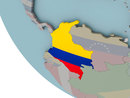 Map of Colombia on political globe with embedded flags. 3D illustration.