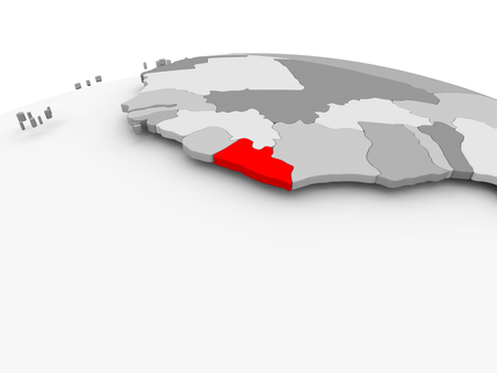 Liberia in red on grey model of political globe. 3D illustration.