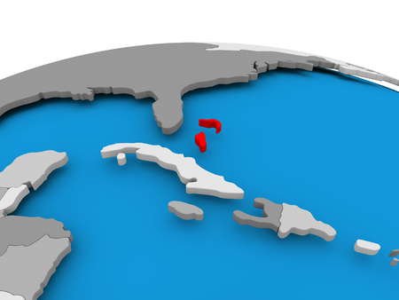 Bahamas highlighted in red on political globe. 3D illustration. Stock Photo