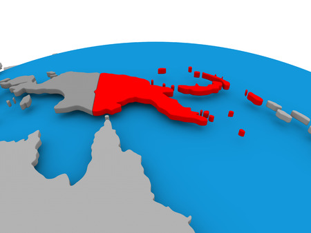 Papua New Guinea highlighted in red on political globe. 3D illustration. Stock Photo
