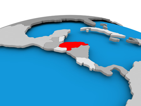 Honduras highlighted in red on political globe. 3D illustration.
