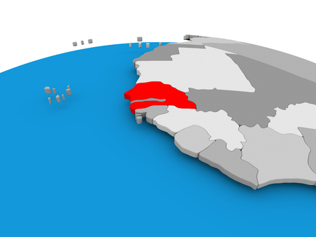 Senegal highlighted in red on political globe. 3D illustration.