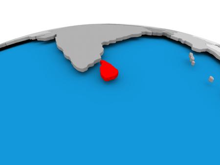 Sri Lanka highlighted in red on political globe. 3D illustration.