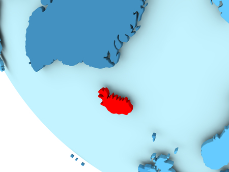 Iceland highlighted in red on blue political globe. 3D illustration.