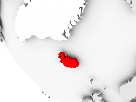 Iceland in red on simple grey political globe with visible country borders. 3D illustration.