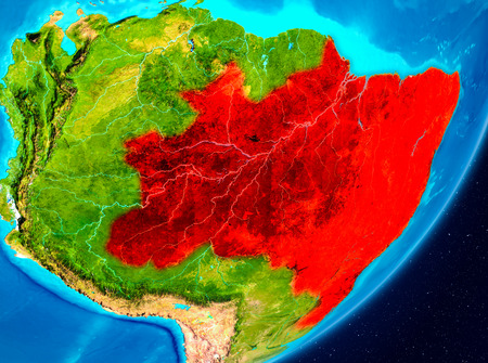 Map of Brazil as seen from space on planet Earth. 3D illustration.