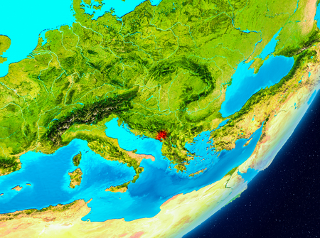 Map of Montenegro as seen from space on planet Earth. 3D illustration. Stock Photo