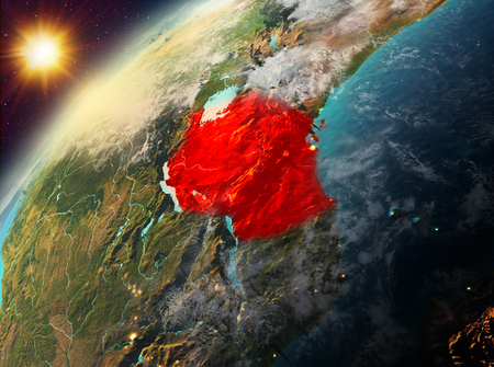 Illustration of Tanzania as seen from Earth's orbit during sunset. 3D illustration.