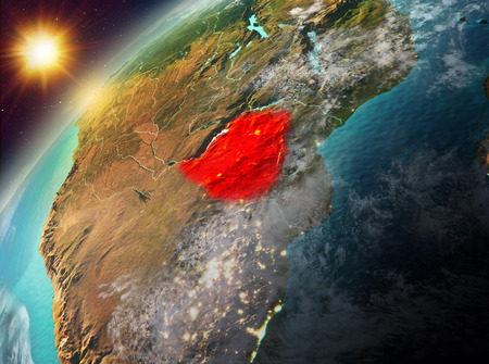 Illustration of Zimbabwe as seen from Earth's orbit during sunset. 3D illustration.