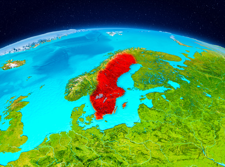 Satellite view of Sweden highlighted in red on planet Earth. 3D illustration. Stock Photo