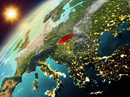 Illustration of Slovakia as seen from Earth's orbit during sunset. 3D illustration. Stock Photo