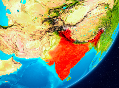 Map of India as seen from space on planet Earth. 3D illustration.