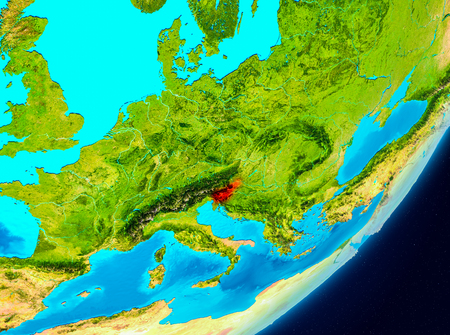 Map of Slovenia as seen from space on planet Earth. 3D illustration. Imagens