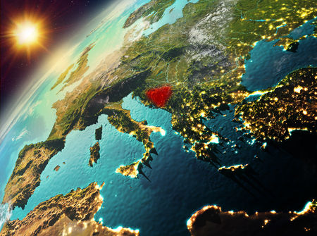 Illustration of Bosnia and Herzegovina as seen from Earth's orbit during sunset. 3D illustration. Stock Photo