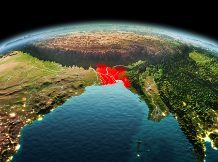 Morning above Bangladesh highlighted in red on model of planet Earth in space. 3D illustration. Stock Photo