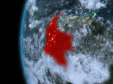 Night map of Colombia as seen from space on planet Earth. 3D illustration.