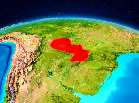Satellite view of Paraguay highlighted in red on planet Earth. 3D illustration.