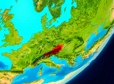 Map of Austria as seen from space on planet Earth. 3D illustration.
