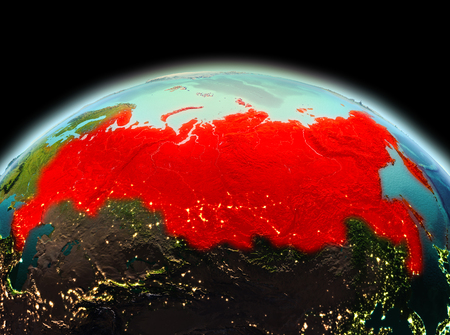 Morning above Russia highlighted in red on model of planet Earth in space. 3D illustration. Stock Photo