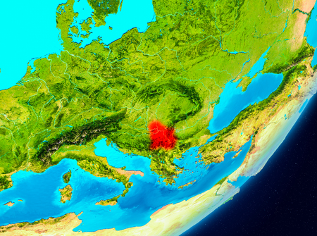 Map of Serbia as seen from space on planet Earth. 3D illustration.