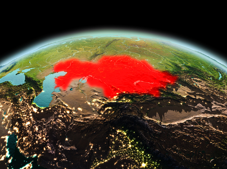 Morning above Kazakhstan highlighted in red on model of planet Earth in space. 3D illustration.