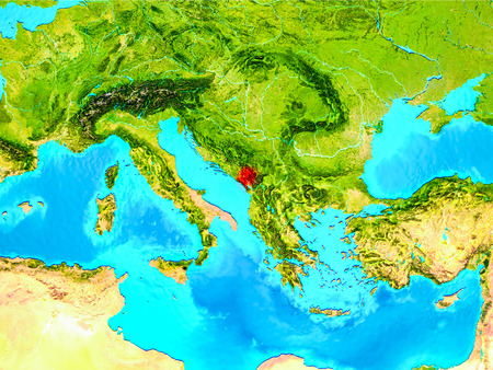 Montenegro highlighted in red on planet Earth. 3D illustration. Stock Photo