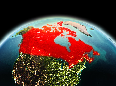 Morning above Canada highlighted in red on model of planet Earth in space. 3D illustration.