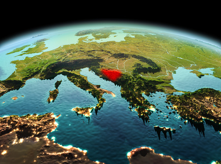 Morning above Bosnia and Herzegovina highlighted in red on model of planet Earth in space. 3D illustration. Stock Photo