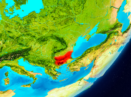 Map of Bulgaria as seen from space on planet Earth. 3D illustration.