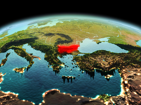 Morning above Bulgaria highlighted in red on model of planet Earth in space. 3D illustration.