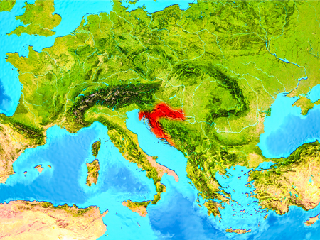 Croatia highlighted in red on planet Earth. 3D illustration.