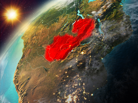 Illustration of Zambia as seen from Earth's orbit during sunset. 3D illustration. Stock Photo
