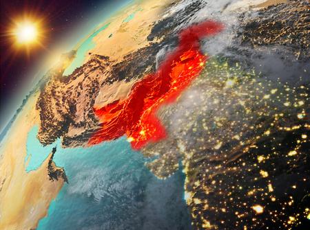 Illustration of Pakistan as seen from Earth's orbit during sunset. 3D illustration.