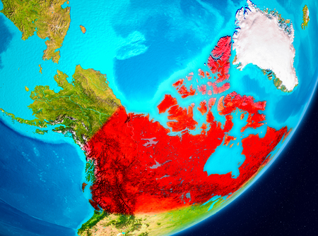 Map of Canada as seen from space on planet Earth. 3D illustration.