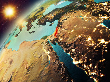 Illustration of Israel as seen from Earth's orbit during sunset. 3D illustration. Stock Photo