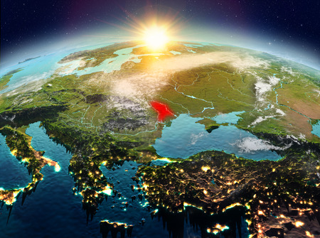 Satellite view of Moldova highlighted in red on planet Earth with clouds during sunrise. 3D illustration. Stock Photo