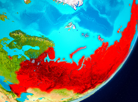 Map of Russia as seen from space on planet Earth. 3D illustration. Stock Photo