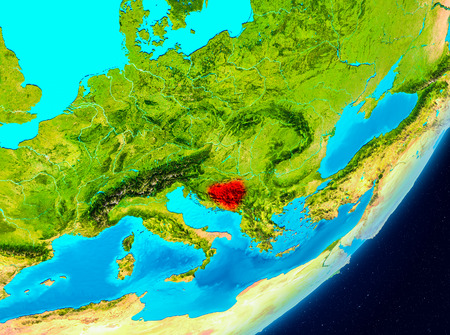 Map of Bosnia and Herzegovina as seen from space on planet Earth. 3D illustration. Stock Photo