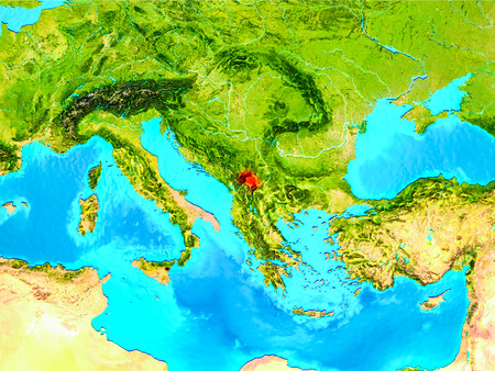 Kosovo highlighted in red on planet Earth. 3D illustration. Stock Photo